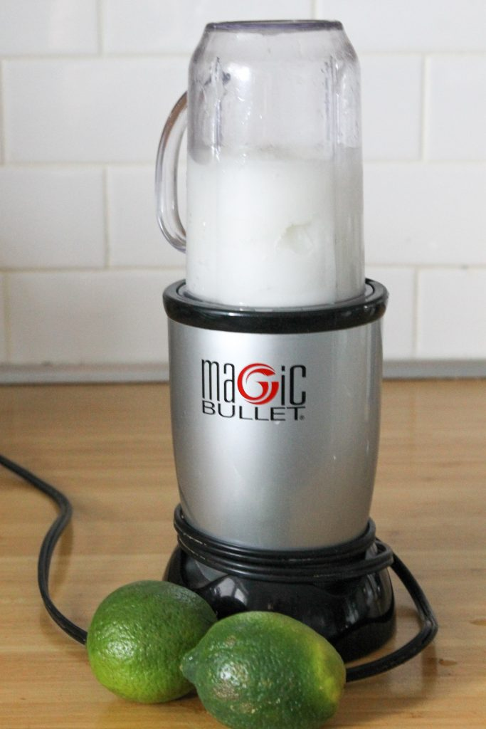 Frozen Classic Lime Margarita in travel blender, magic bullet