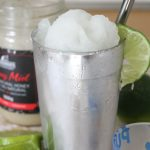 grapefruit lime frozen margaritas with honey and fresh limes and reuseable straw
