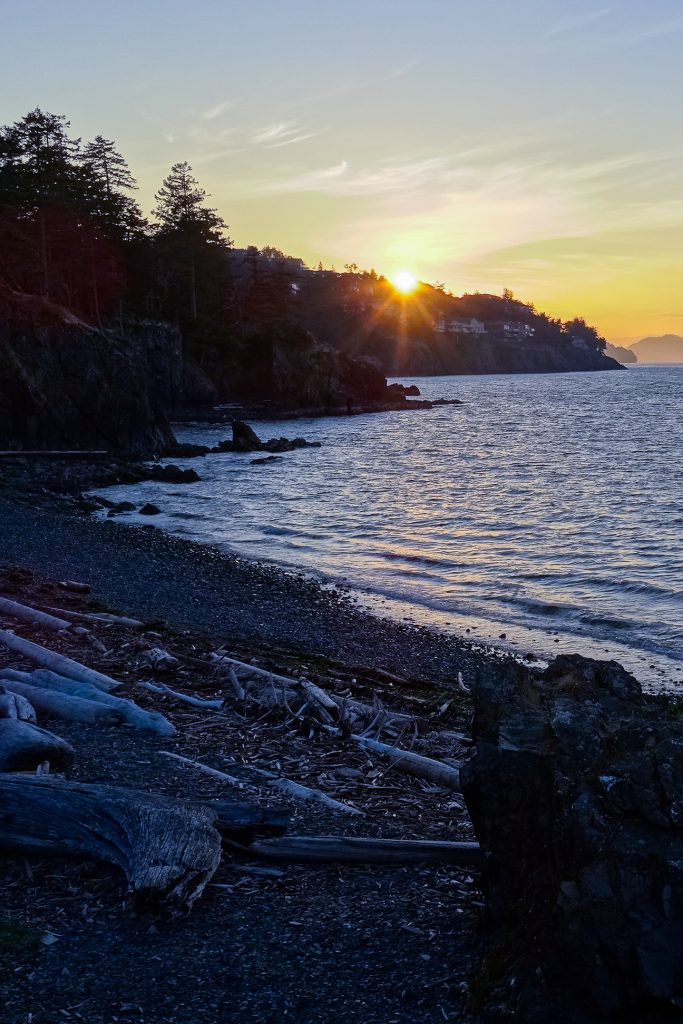 sunset above the ocean off the coast of Nanaimo, British Columbia