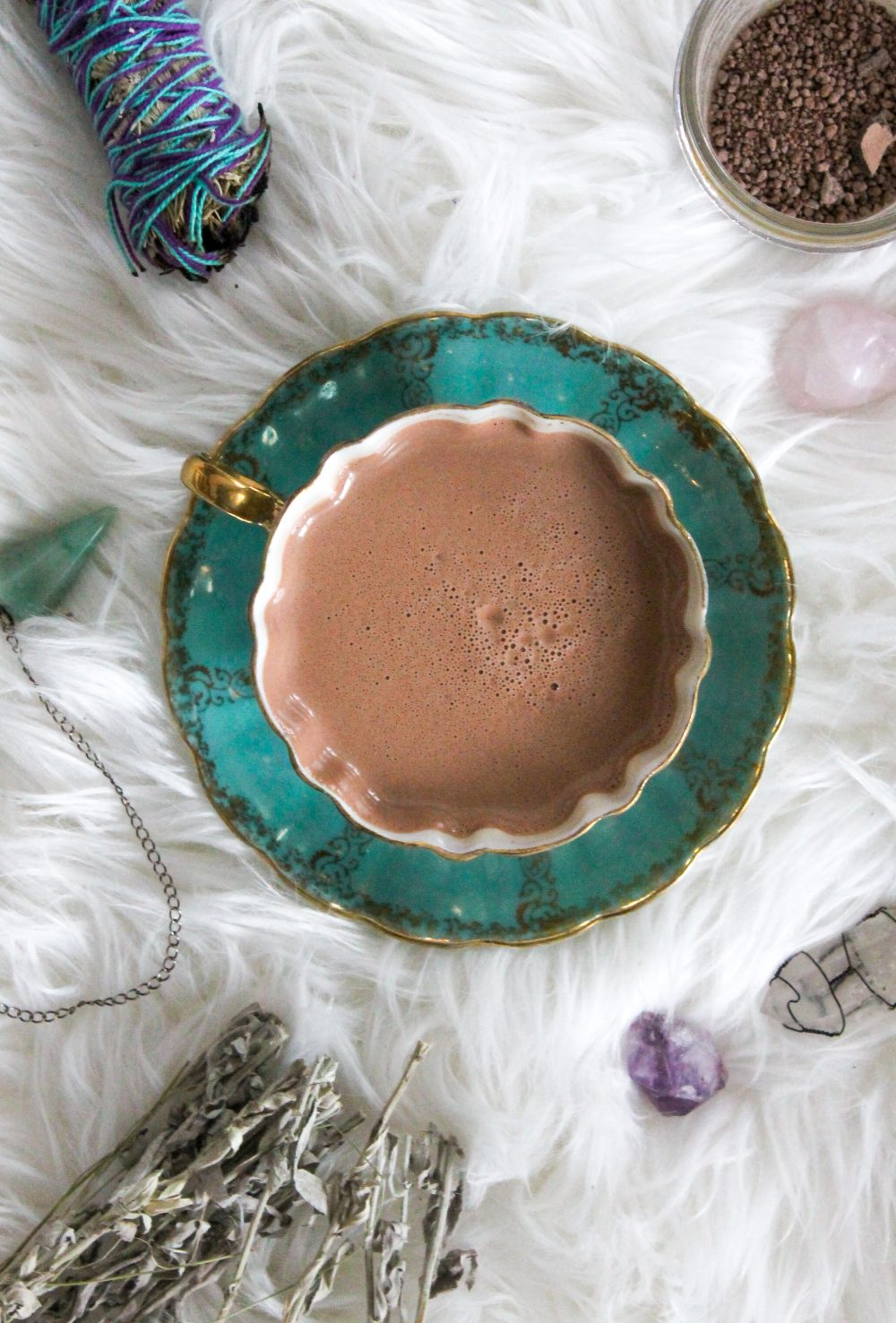dairy free cacao ceremony with raw cacao, smudge, sage, amythest, clear quartz, rose quartz, crystals, herbs, adventurine