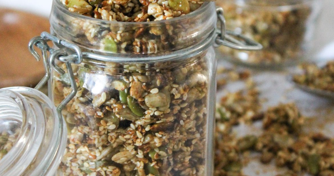 crunchy, smoky, sweet and salty blend of sesame seeds, sunflower seeds, pumpkin seeds to use as a salad topper or savory granola