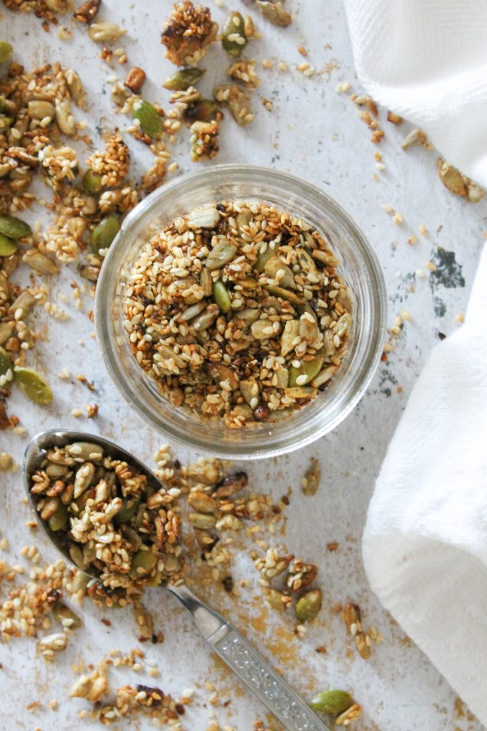 crunchy, sweet, salty, smoky blend of sesame seeds, sunflower seeds and pumpkin seeds
