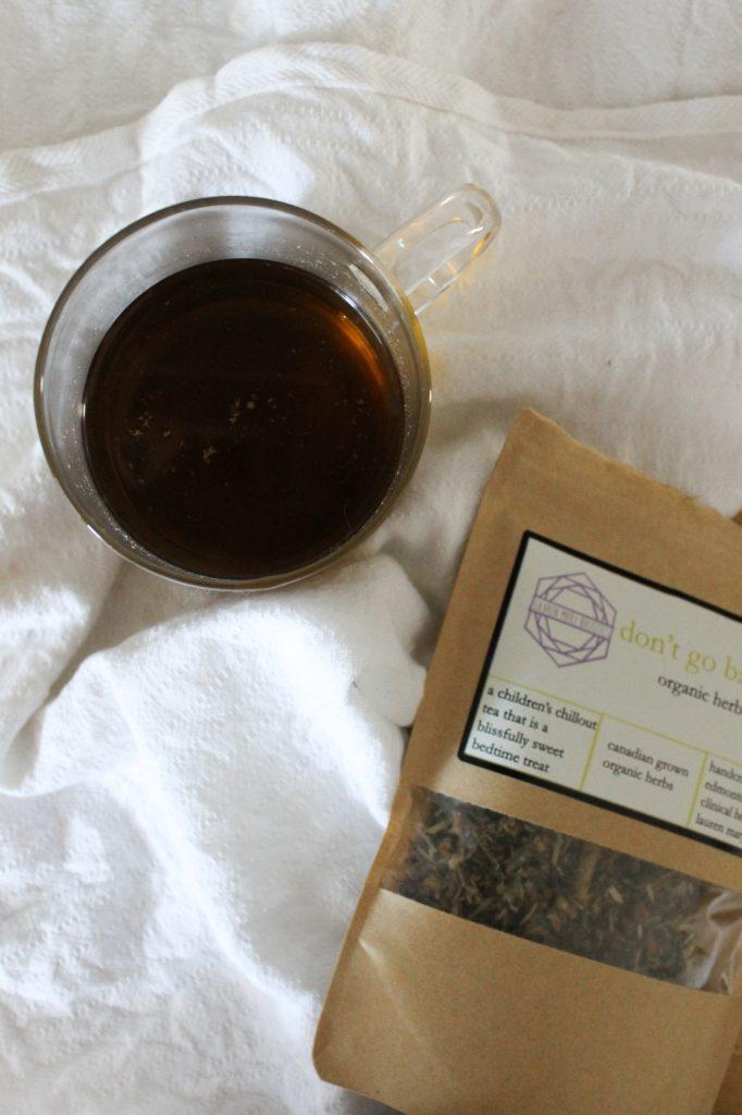 steeped herbal calming Don't Go Bananas tea from Elle Wellness in Edmonton, Alberta